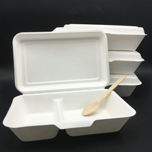 Biodegradable Sugarcane 2 Compartment Bento Disposable Take Away Lunch Box