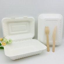 Disposable tableware fast food sugarcane bagasse box