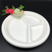 Factory Price Disposable Round biodegradable 3 Compartment Plates