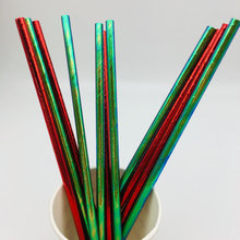 Compostable Eco Friendly Paper Straw Rainbow Strip Paper Straw FDA Drinking Paper Straw