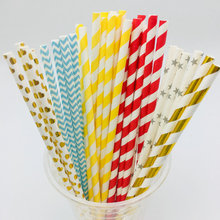 Decorative recycled party drinking paper straws