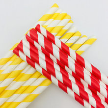 Red And Yellow Striped Biodegradable paper straws