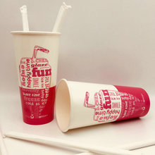 Cold Drink Cup Double PE Single Wall Paper Cup Disposable With Paper Straw