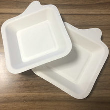 Disposable Biodegradable Bagasse Small Square Cake Tray with Handle