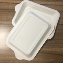 Green tableware disposable sugarcane pulp dinnerware small rectangle plate with handle