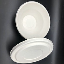Bio-degradable eco friendly tableware sugarcane bagasse pulp paper bowl with lid