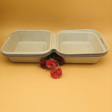 Biodegradable sugarcane wheat straw food packaging 450ml hamburger box
