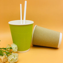 Green Disposable Ripple Wall Coffee Paper Cups With Lids And Straw