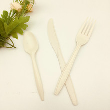 Disposable Biodegradable Cornstarch Fork Knife Spoon Cutlery Biodegradable Cutlery Set