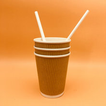 Ripple Paper Pulp Cups With Paper Straw Biodegradable