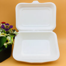 Biodegradable tableware of sugarcane clamshell paper pulp lunch box