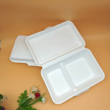 Biodegradable compostable clamshell bagasse pulp disposable take out food containers