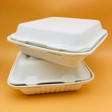 Bagasse Biodegradable Disposable Paper Pulp Compartment Clamshell Food Container