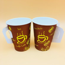 New design biodegradable disposable single wall coffee paper cup with handle