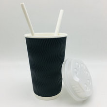 Hot Drink Paper Cup with Lid and paper straw disposable paper cup coffee paper cup