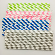 colourful disposable flexible striped paper straws