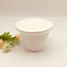 disposable biodegradable white sugarcane pulp cup with lid