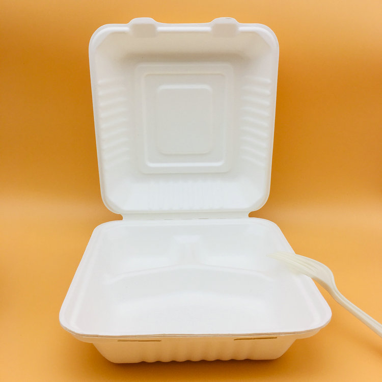100% Compostable Sugarcane Bagasse Lunch Box Cheap Sales