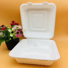 10inch Bagasse Sugarcane Three Compartments Clamshell Containers Wholesale