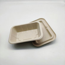 Biodegradable Tableware Sugarcane Food Tray With Lid 400ml