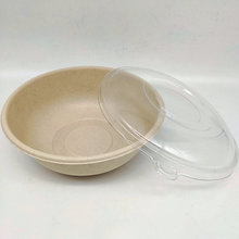 1000ml Large Natural Salad Round Bowl With PET Lid For Sale