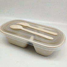 800ml Compartment Tableware Disposable Food Box With PP Lid