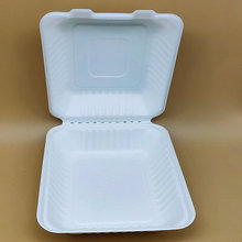 8 Inches Biodegradable Clamshell Sugarcane Food Container