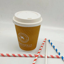 Takeaway Disposable Ripple Wall Paper Coffee Mugs with Lids