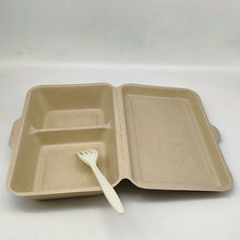 Biodegradable Paper Pulp Food Container 2 Compartment