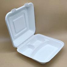 3 Compartment Disposable Sugarcane Food Clamshell 8