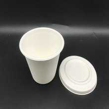 15oz compostable sugarcane cup with paper lid for drinking