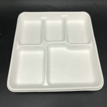 5 compartment disposable sugarcane pulp food tray