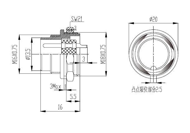 m16 panel front mount male socket  euro