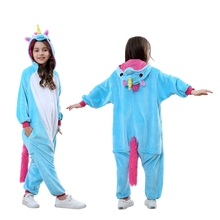 Animal Onesies Kids Pajamas Teal Unicorn