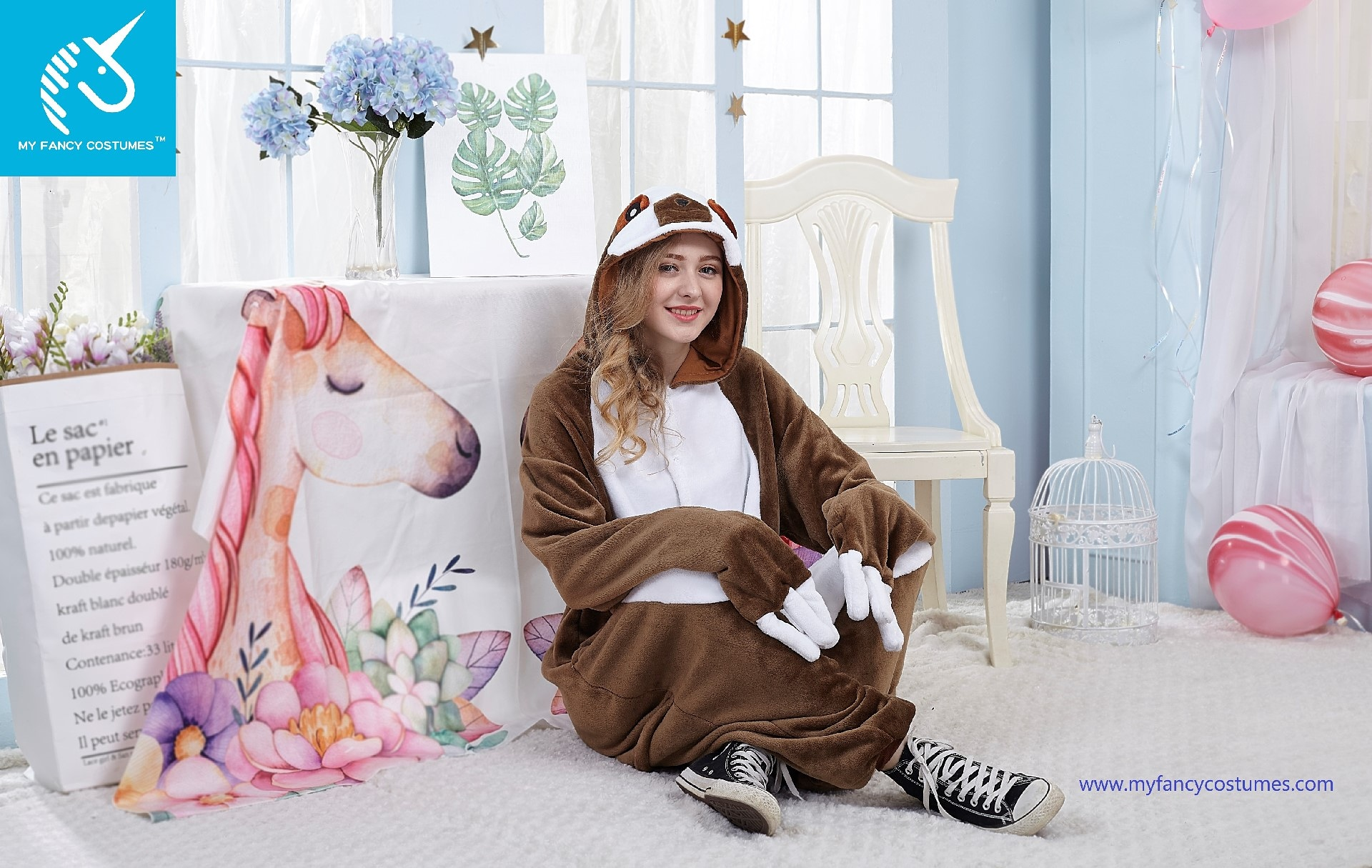 sloth cosplay, animal onesie, Halloween costumes