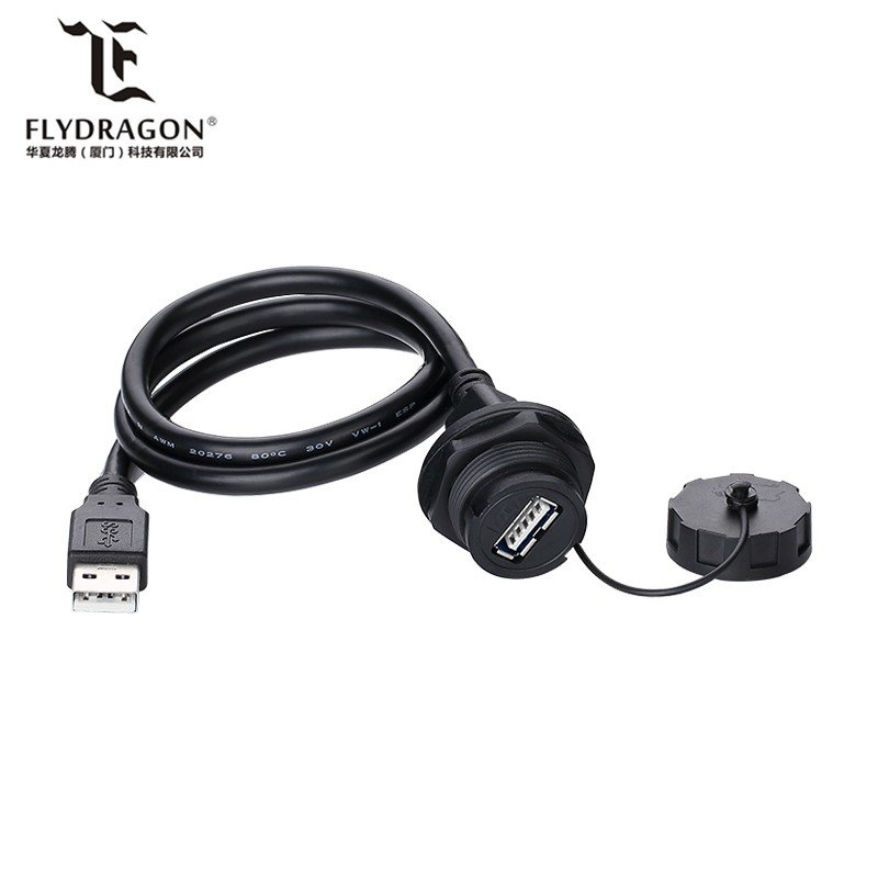 weatherproof threaded type A usb3.0 connector micro USB panel mount connector