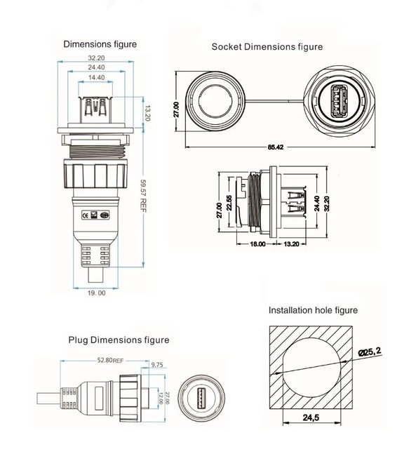 circular push pull usb3.0 connector weatherproof threaded type A usb3.0 connector micro USB panel mount connector
