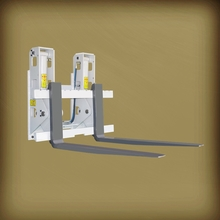 Hinged carriage forklift attachments