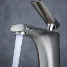 Brushed Nickel Brass Bathroom Basin Water Tap Faucet