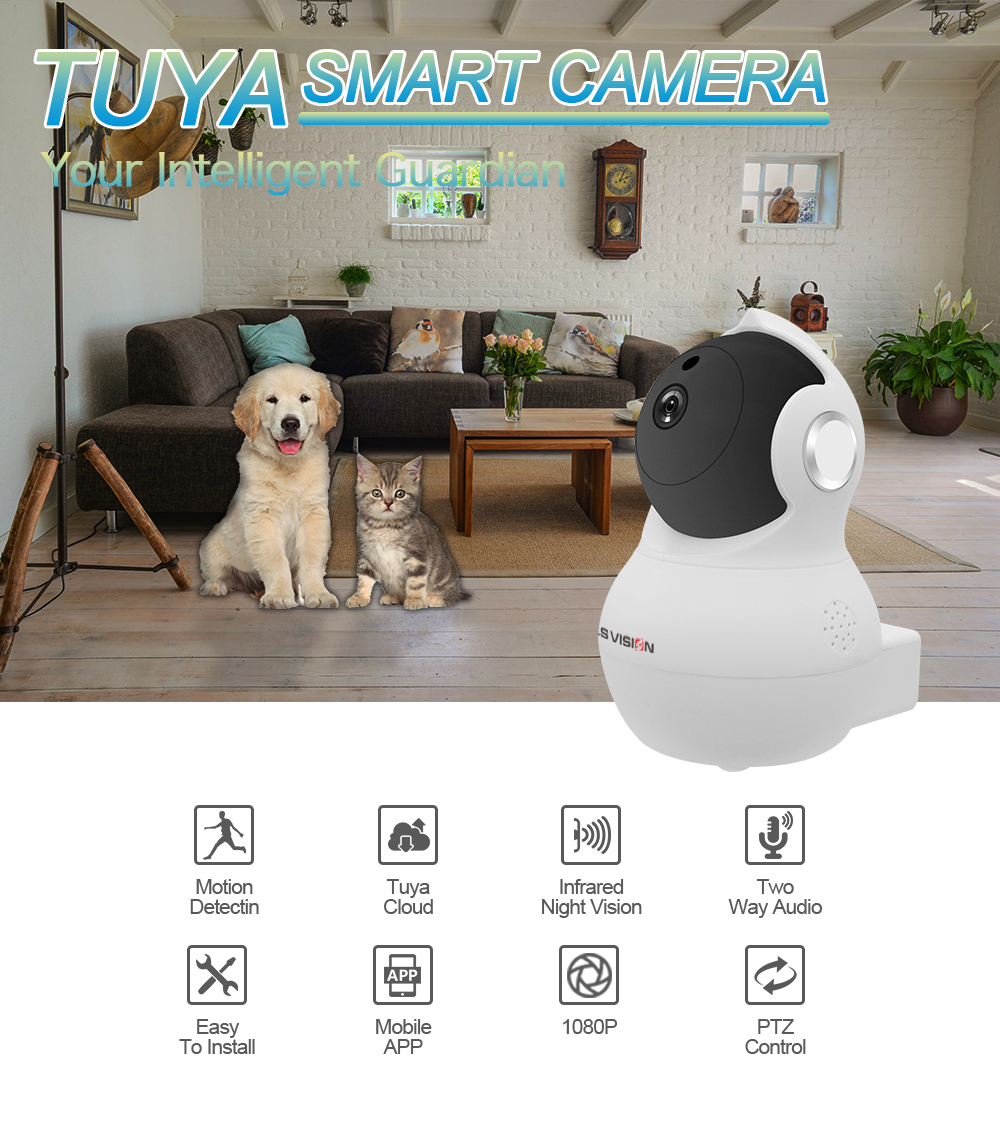 LS VISION Tuya Smart Home 1080P HD Auto Tracking Motion