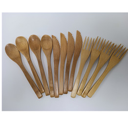 Clean and portable flatware sets bamboo tableware set dinner cutlery