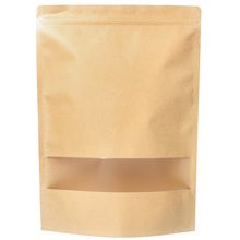 Waterproof Stand Up Brown Kraft Paper Bags Sealed Doypack Paper Ziplock Bag