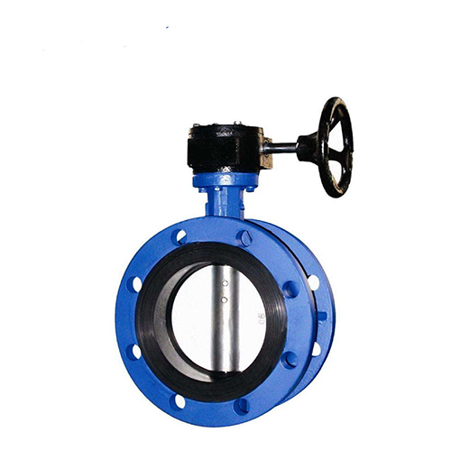 Cast Iron Double Flange Butterfly Valve Price With Gearbox