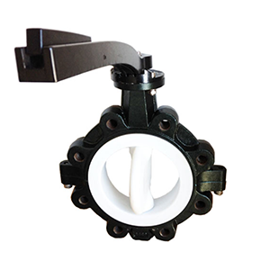INVCO PTFE lined butterfly valve for oil lug type butterfly valve with handle for steel plant
