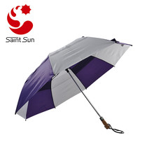 Big Size 2 Fold Golf Umbrella With Wooden Handle