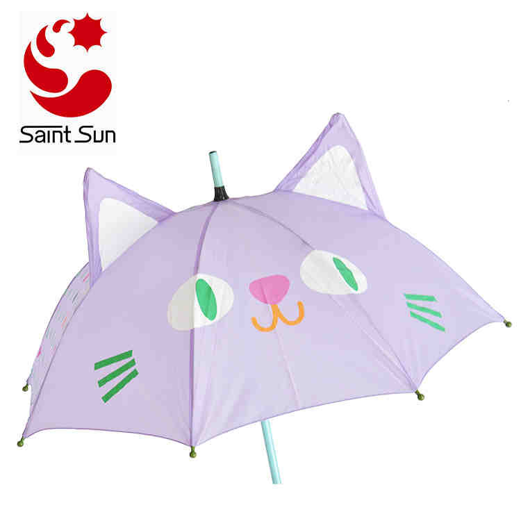 3D Cat Animal Wooden Ball Lovely Handle Colorful Kids Umbrella Of 2018 Best Sales