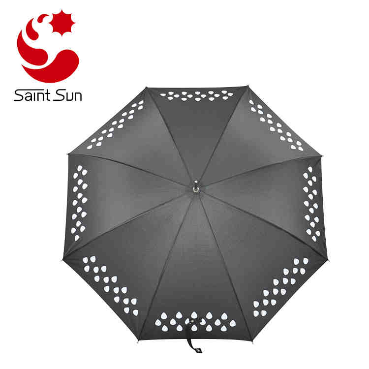 Color Changing Umbrella,  Rain Drop Colorful Straight  Umbrella, Printed  Change Color  stick Umbrella When Wet for sale