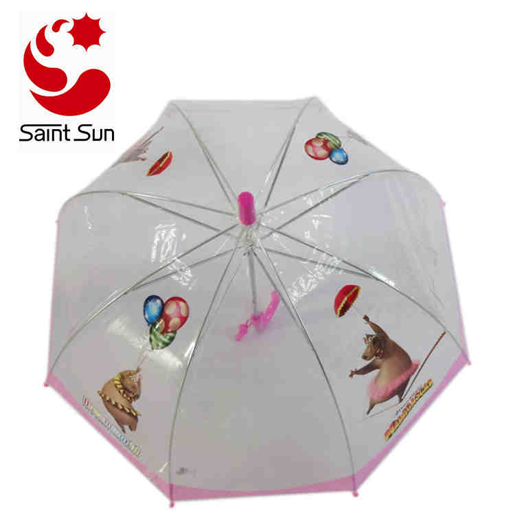 Transparent Dome Bell POE Children Umbrella with Machine Printing