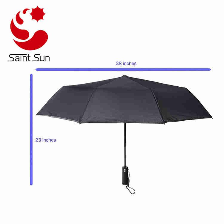 Lightweight Compact Travel Umbrella Black Windproof Auto Open Close with LED Flashlight Handle
