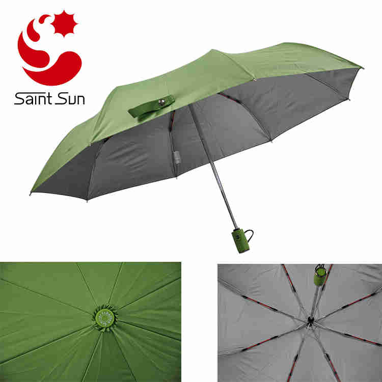 Red color fiberglass windproof folding  travel sun umbrella with silver coating fabric